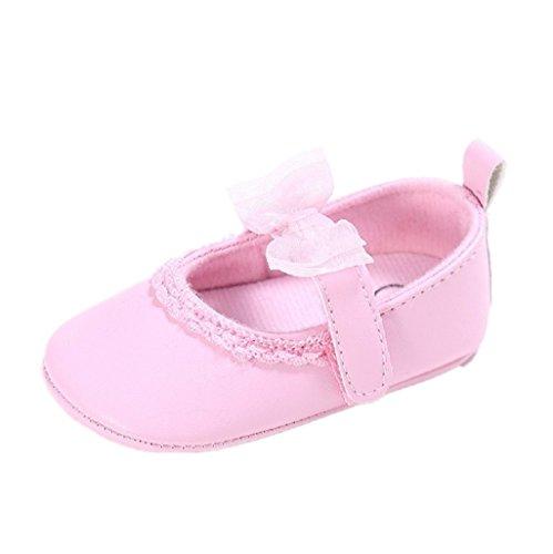 Zapatos de bebé,Auxma Zapatillas de deporte de cuero de la PU del Bowknot de la niña para 0-18 meses Rosado