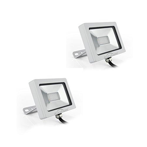 AuraLum® 2er Pack Ultraslim 10W Warmweiß LED Strahler Fluter Flutlicht, 750lumen, 10 LEDs SMD3030, IP65 Wasserdicht, Lichtfarbe 3000 kevin