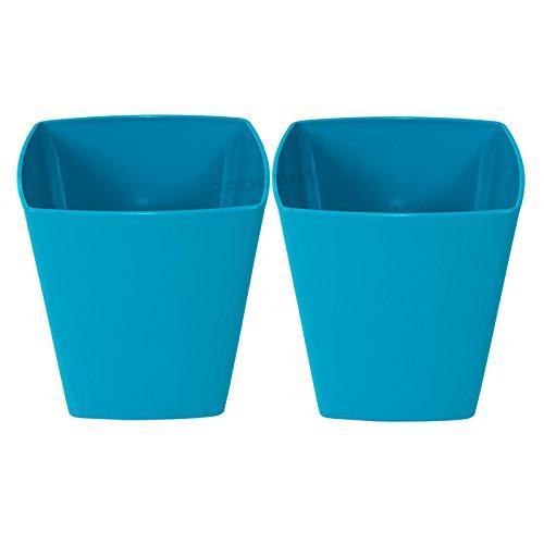 2 x BLUE Square 14cm Plastic Plant Pot Cover Troughs ProdBuy Limited