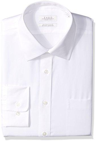 Enro Pinpoint - Enro Men's Non-Iron Slim Fit Pinpoint Oxford Dress Shirt, White, 15.5 x 34/35