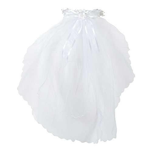 First Holy Communion White Tulle Veil with Pearl Flower Crown and Bow