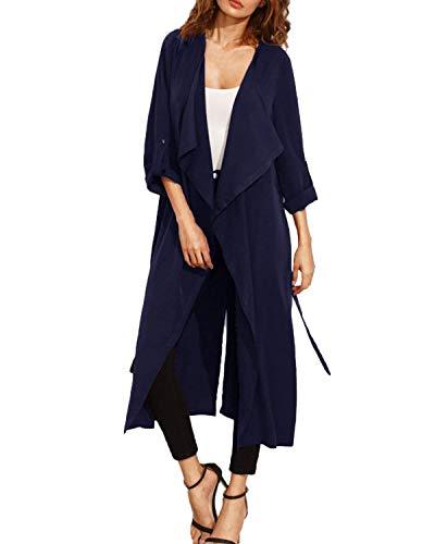 Inclusa Vintage Spacco Donna Marine Giaccone Puro Vento Cintura Autunno Colore Giacca Moda Outerwear Lunga Casual Manica Parka xRwwPYqB0