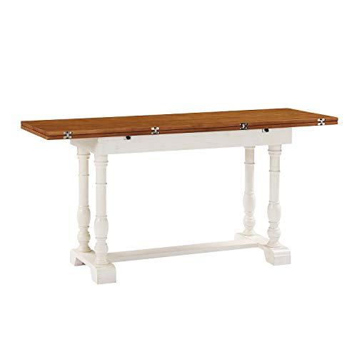 Convertible Dining Table - Expandable Wood Top Seats 2 to 6 - Double Pedestal Base