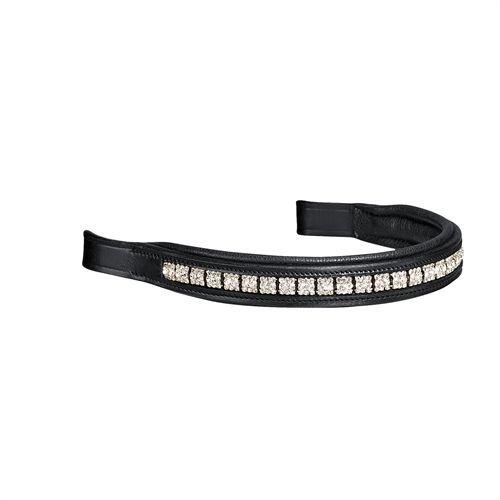 Crown Premier Dressage Browbands ブラック/シルバー スクエアホースフルサイズ