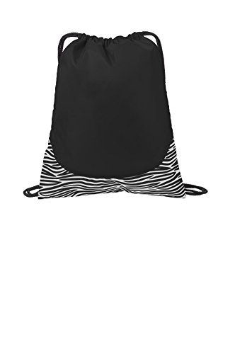 Port Authority luggage-and-bags Patterned Cinch Pack OSFA Zebra Black/ White