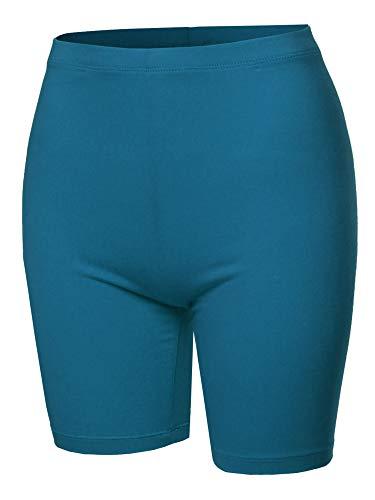 (A2Y Basic Solid Cotton Mid Thigh High Rise Biker Bermuda Shorts Teal 1XL)