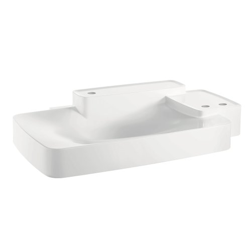 AXOR 19944330 Wall Hung Bouroullec Wash basin, Big, 2 Shelfs, 3 Hole, White