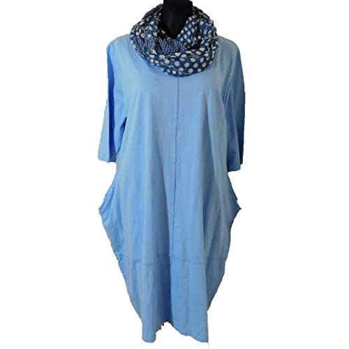 -Kleid-Shirtkleid-Shirt-mit-Loop-Cotton-Kurzarm-Lagenlook-blau-Gr. 46-48