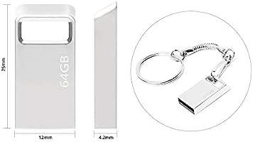 Memoria USB 64 GB, Mini Pendrive 64 GB Memoria Flash Metal USB Pen Drive 64GB con Llavero para Computadoras, Tabletas Almacenamiento de Datos Externo ...