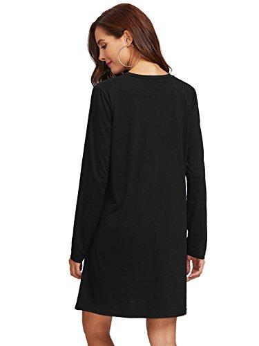 Sleeve pearl Tunic Dress Women's Romwe Casual Black Beading Long Beading Loose Pearl qnCU0ZUtv