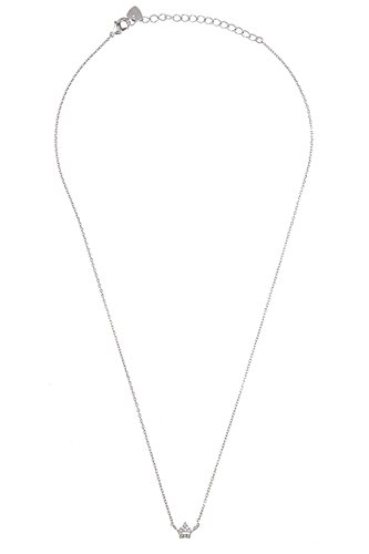 GlitZ Finery Simple Crown CZ Stone Accent Small Pendant Necklace (Rhodium)