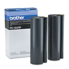 Brother PC102RF Fax Thermal Transfer Refill Rolls for Intellifax 1250/More, Black, 2/Box