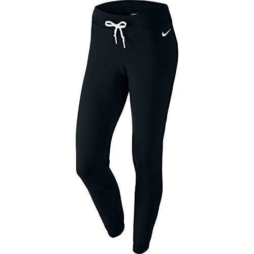 Nike Damen Sporthose Lang Jersey Cuffed Pants, schwarz/weiß, M, 617330