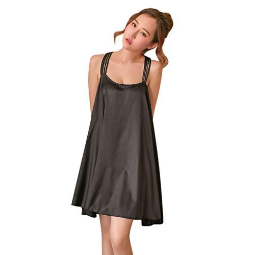 Close-dole Women's Sexy Large Size Loose Straps Nightdress Underwear Dolls Sleeveless Nightdress Home Service Girls Black ()