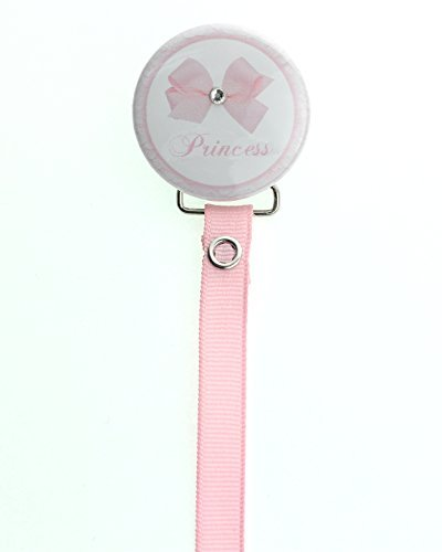 - Elegant Pink Bow with Crystal Gift Keepsake Baby Girl Pacifier Clip with Matching Solid Ribbon 8 inch (RBPP)