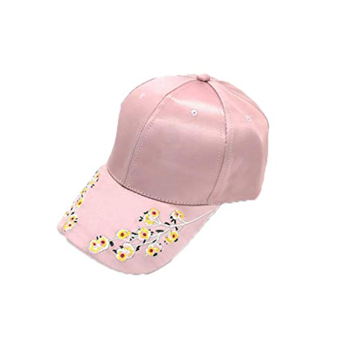 (Women Flower Embroidery Baseball Caps Fashion Adjustable Snapback Hats Cotton Sport Sun Visor Hat Dad Hat Trucker Hat Pink)