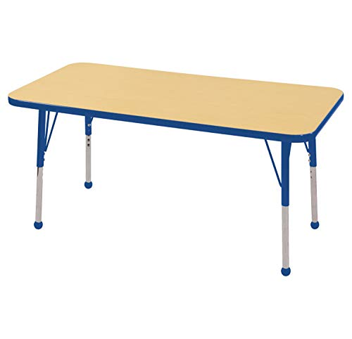 "ECR4Kids Mesa Everyday 24"" x 48"" Rectangular School Activity Table, Standard Legs w/ Ball Glides, Adjustable Height 19-30 inch (Maple/Blue)"