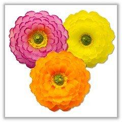 - Zinnia Flower Floating Candles - Fuchsia, Orange, Yellow - Boxed Set of 3