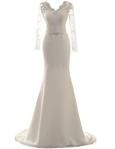 Wedding Dress Long Sleeves Mermaid Bridal Gown Lace Bride Dresses Wedding Gowns with Belt Ivory