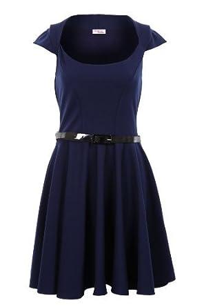 260c4f48d6c Fantasia Boutique pour femmes mancheron avec ceinture Patineuse évasée  bordeaux rouge couleur chair noir bleu marine robe femmes  Amazon.fr   Vêtements et ...