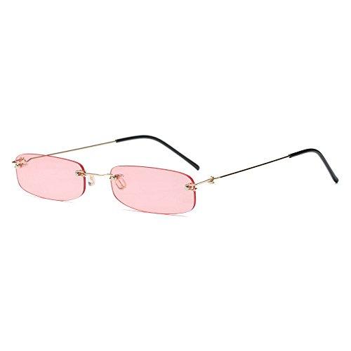 (MINCL/Small Chic Rectangular Rimless Sunglasses Women Men Fashion Vintage Design UV400 (pink))