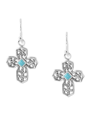 Barse Sterling Silver Turquoise Cross Earring