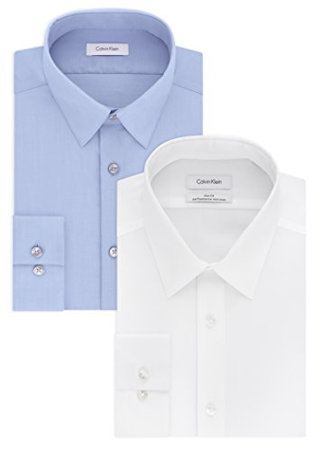 Calvin Klein Men's Dress Shirt Slim Fit Non Iron Herringbone, White/Blue, 17
