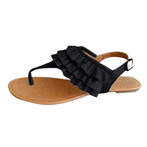 - 〓COOlCCI〓Womens Flat Sandals Flip Flops Yoga Sling Casual Thong Slippers Sling Back Shoes for Studio and Outdoor Black