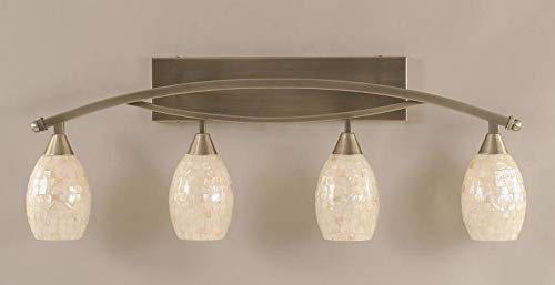Seashell Four Light - Bow 4 Light Bath Bar in Brushed Nickel-5 in. Sea Shell Glass