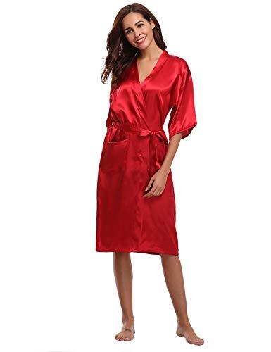 Nightgown Babydoll Red xxl Satin confortevole Dress Long Long Aibrou Bedroom e Japan A Kimono Peigray Womens Satin Taste femminile Coquet PfwqBAY