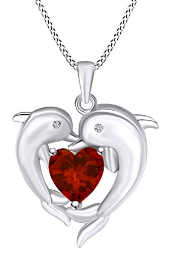 AFFY Heart Simulated Garnet & White Cubic Zirconia Heart Frame Double Dolphin Pendant Necklace in 14k White Gold Over Sterling Silver