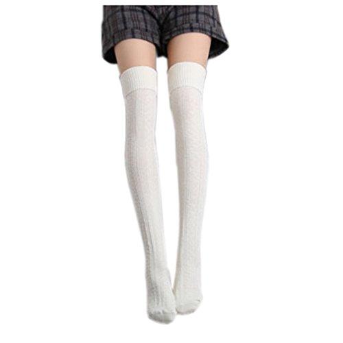 Au Blanc Dessus Chaussettes Longue Sport De Fille Montantes Genoux Du Haute Coton Cindeyar Femme 1fwHqOH0