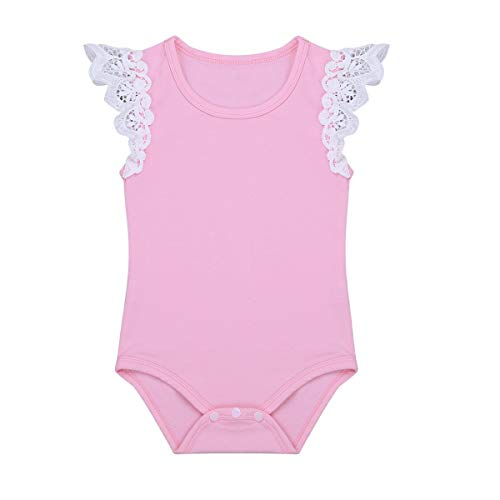 YOUNGER TREE Infant Toddler Baby Girls Romper Flutter Sleeve Onesies Bodysuit Outfits (12-18 Months, Pink)