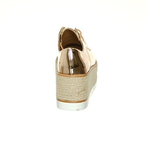 Shoew Qualunque Donna Cuneo Piattaforma Pizzo Scarpe Rampicanti In Oro Rosa