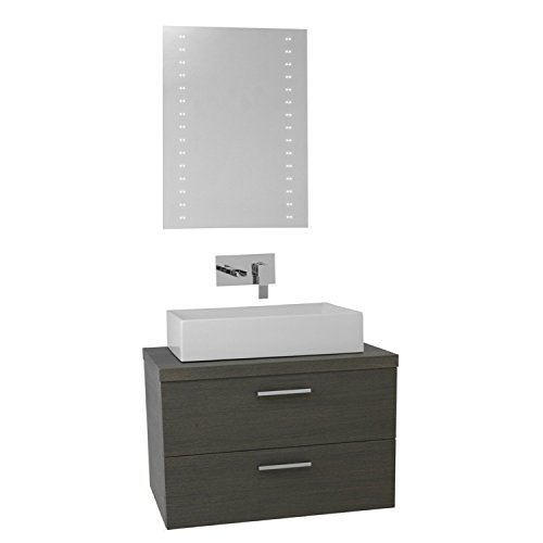 "Iotti Iotti AN700 Aurora Vessel Sink Bathroom Vanity Wall Mounted with Lighted Mirror Included, 30"", Grey Oak durable modeling"
