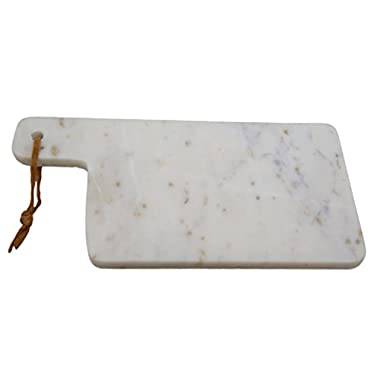 ShalinIndia Handmade White Marble Chopping Board - Cutting Board for Bread, Fruits, Vegetables & Meats - 12 by 6 Inches - Artisan Crafted in India