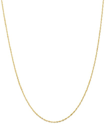 ICE CARATS 14k Yellow Gold 1 Mm Singapore Chain Fine Jewelry Gift Set For Women - Certificate Gift Singapore