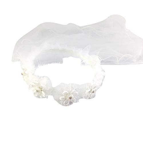 2 Layers Girls Hair Vine Garland,First Communion Veils Wreath Wedding Princess Flower Wreath Garland Headband Wedding Communion Jewelry Decor White