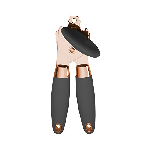 COOK with COLOR Manual Rose Gold and Black Can Opener with Large Knob and Bottle Cap Opener…