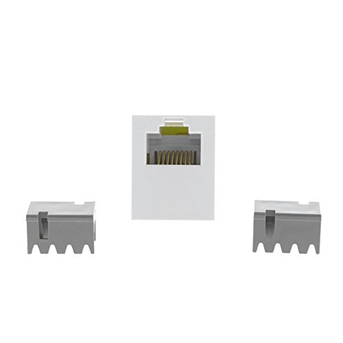 Cat3 Universal Jack - P&S Innovate White Smooth Jack Cat3 RJ45 Category 3 8-Position T568A/B S38-W