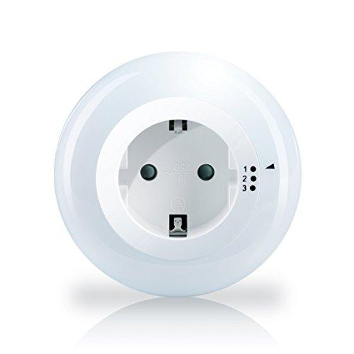 Brandson - verstellbares LED Nacht- und Orientierungslicht | Nachtlampe / Nachtorientierungslicht | integrierter Helligkeits-/Dämmerungssensor | Kindersicherung | inkl. Zwischenstecker | max. 3680W | IP20 | stromsparend (max. 0,6W) | weiß