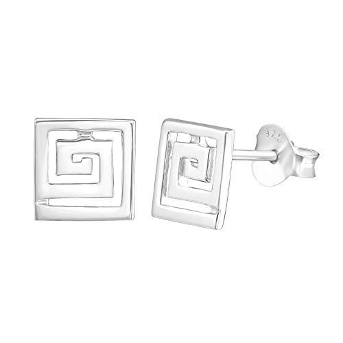 925 Sterling Silver Plain Swirl Greek key Stud Earring