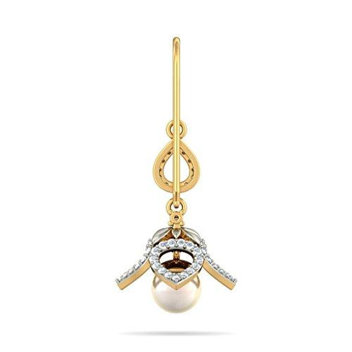 Or jaune 18K 0.78carat au total White-diamond (IJ | SI) et blanc cassé Perle Boucles d'oreilles