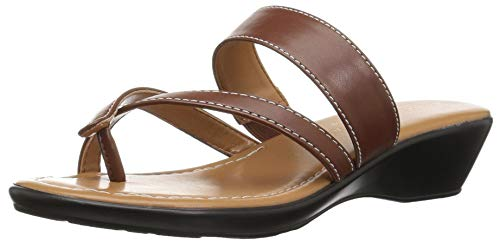 Athena Alexander Women's BARN Dance Wedge Sandal, Cognac Leather, 7 M US (Athena Alexander Leather Sandals)