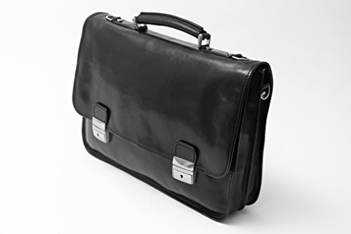 Alberto Bellucci Mens Italian Leather Rimini Double Compartment Laptop Briefcase Bag in Black
