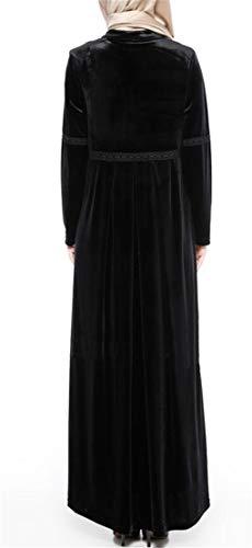 Islamic Pockets Maxi Velvet Womens Abaya Muslim Domple Dress Long Black Kaftan tqBXHf