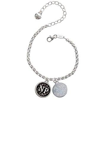 Silvertone Nurse Caduceus Seal - NP Stronger Braver Smarter Engraved Bracelet
