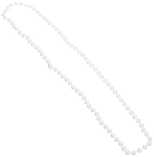 (One Dozen 33-inch Long White Beaded Necklaces - Party Accessory (7mm Beads))