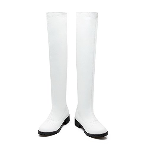 BalaMasa Solid Above Boots White Womens Pull On Urethane ABL10623 The Knee wqpx4OPw61