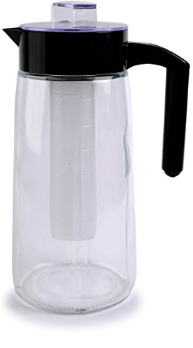 Circleware 66554 H2O Glass Carafe Water Pitcher with Lid, Handle and Ice Tube Core Drinking Dispenser Glassware for Juice and Kitchen & Home Decor Bar Dining Beverage Gifts, BPA Free, 60oz, Chamber For Sale